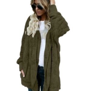 Teddy bear fleece cardigan green!